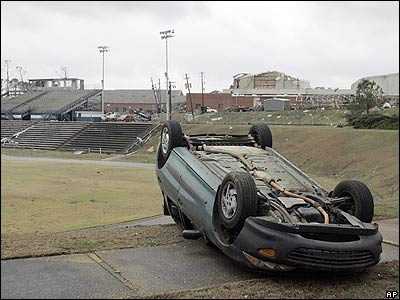 And this car landed upside down in on the school's sports field.