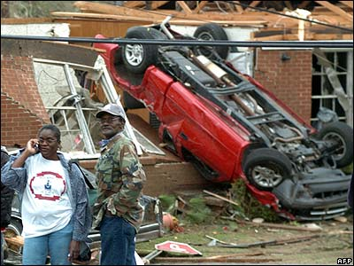 And this car crashed through a house which had caved in during the huge storm.