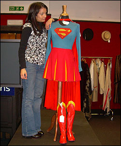 Here's Sonali with one of the costumes up for grabs in a film auction on Tuesday. Film fans with cash to splash will be bidding to get their hands on the famous threads.