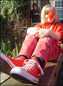 Anthony, 10, is dressed from head to toe in red for this year's Comic Relief day.
