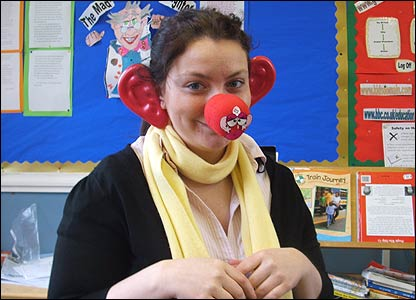 Victoria, 11, helped her school raise �40 for the charity. Even her teachers and dinner ladies joined in by wearing the noses and ears for 10 minutes each!