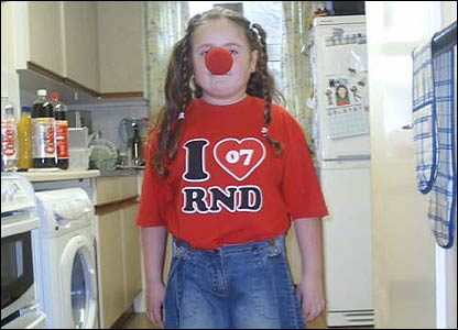 Here's Jordan getting ready for her school  Red Nose Day disco!
