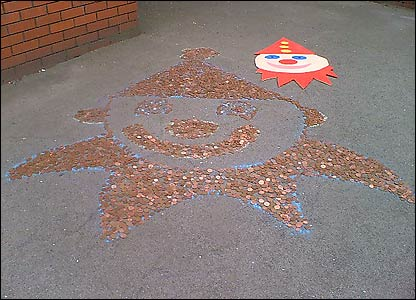 Children at Canklow Woods Primary school raised money by using all their spare 1p and 2p coins to make this clown!