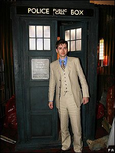 Here's David striking a pose next to the famous Tardis!