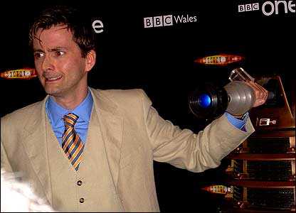Judging by his face, maybe David's more scared of the Daleks than he's ready to admit?