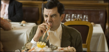 Mr Bean tries a French seafood dish