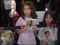 Young fans wait for Miley Cyrus