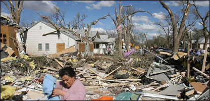 Aftermath of the tornado in Holly, Colorado