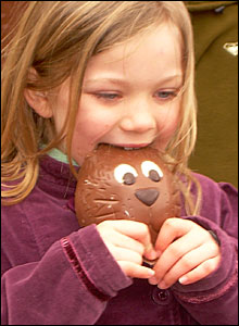 Megan eating a chocolate rabbit