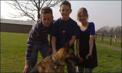 Sam, Jack and Ella with Max