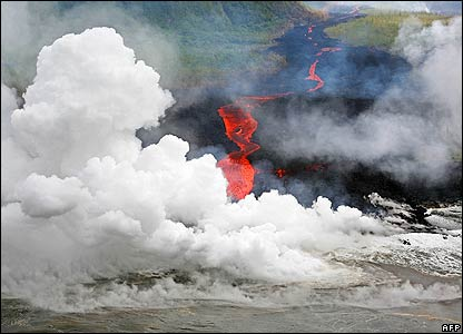 Rivers of lava have spewed out of one of the world's most active volcanoes on the French island of La Reunion.