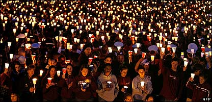 A sea of candles at the night of remembrance