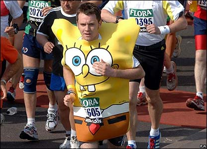 Loads of runners dressed up to run the London Marathon. This man is dressed as the cartoon character Spongebob Squarepants!