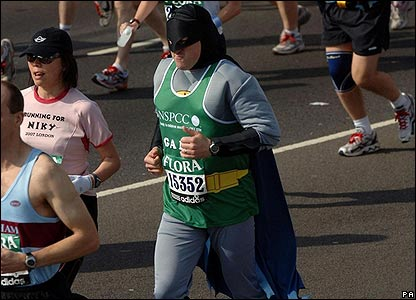 Lots of runners chose to race as super-heroes. This one is dressed as Batman!