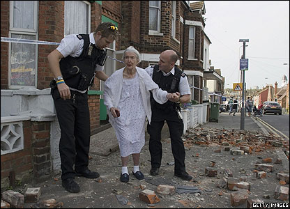 Emergency teams led shocked residents to safety. Earthquakes hardly ever happen in the UK.