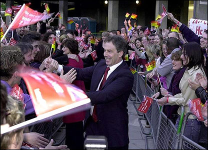 Mr Blair is the first Labour leader in history to win three General Elections in a row. He won a massive majority in 1997, then saw his party returned to power in 2001 and again in 2005.