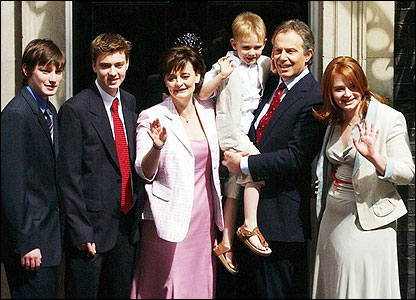 Mr Blair and his family after Labour's 2005 election success. Their sons  are Euan, 23, Nicky, 21 and Leo, who will be seven on May 20.  Daughter Kathryn is 19.
