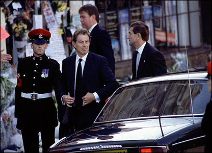 One of Mr Blair's first big public duties was speaking out on the death of Princess Diana the following August.