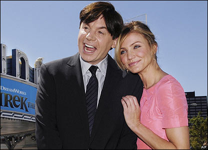 Cameron Diaz and Mike Myers posed for pictures at the premiere of Shrek The Third in Los Angeles in America on Sunday.
