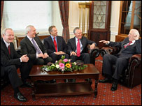 Deputy First Minister Martin McGuinness, Irish Taoiseach Bertie Ahern, British Prime Minister Tony Blair, Northern Ireland Secretary Peter Hain and First Minister Ian Paisley