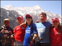 Charlotte, Patrick and some of the team high up in the Himalayas