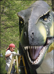 Fifteen giant dinosaurs have been placed in the grounds of Cleveland Metroparks Zoo. Finishing touches are added to a Tyrannosaurus Rex.