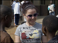 Dani Harmer meets children in Ghana