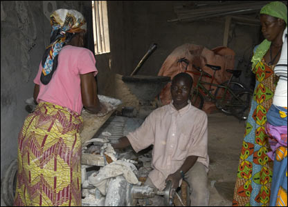 Ibrahim used to work in this corn mill. It was a long day with poor light, lots of heat and noise.