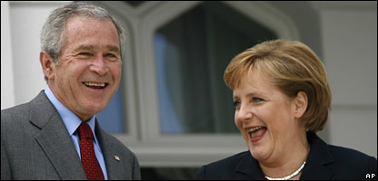 US President George Bush and German Chancellor Angela Merkel