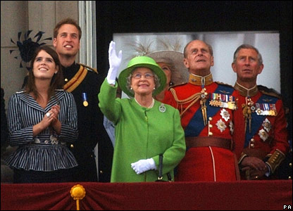 Princess Eugenie, Prince William, the Queen, the Duke of Edinburgh and Prince Charles