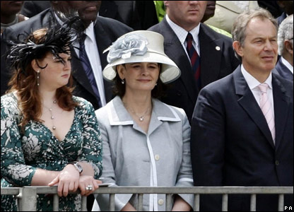 Kathryn Blair, Cherie Blair and British Prime Minister Tony Blair