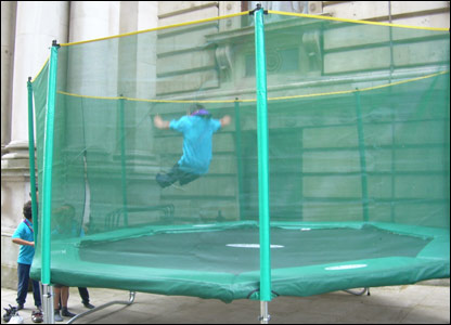 A Scout trampolining