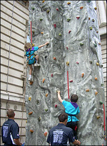 Scouts on the climbing wall