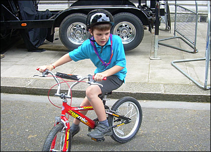 A Scout on a bike