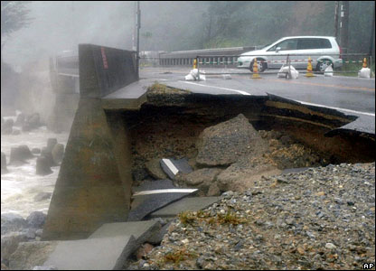 A road damaged by the typhoon