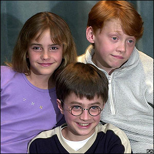 In 2001, Potter hit the big screen. Philosopher's Stone came out as a movie, with Dan Radcliffe in the title role. Rupert Grint and Emma Watson were cast as Ron and Hermione.