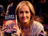 JK Rowling at the midnight launch