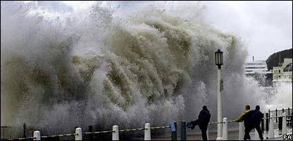Storms can cause the sea to flood coastal areas