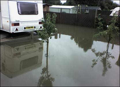 Ellen sent us this picture of the rising flood waters in Abbeydale, near Redditch, in the Midlands.