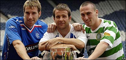 Rangers' Kirk Broadfoot, Celtic's Scott Brown and Kilmarnock captain Gary Hay