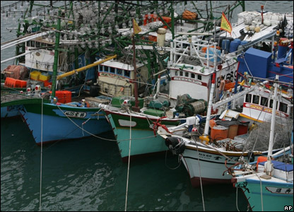 Fishing boats tied together