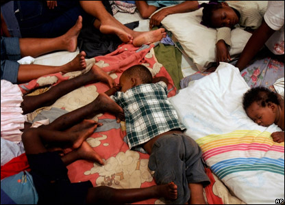 Children sleeping in an emergency shelter