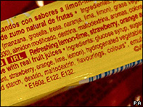 Additives on a food label