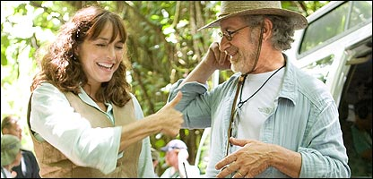 Filming on set for Indiana Jones and the Kingdom of the Crystal Skull