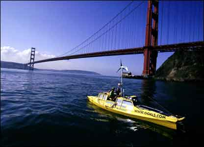 Jason leaving San Francisco in America. Picture from Expedition 360