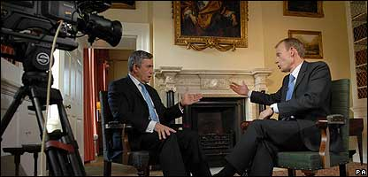 Prime Minister Gordon Brown and BBC journalist Andrew Marr