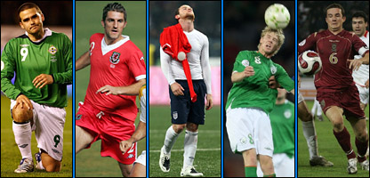 Northern Ireland's David Healy, Wales' Samuel Ricketts, England's Wayne Rooney, Republic of Ireland's Andrew Keogh and Scotland's Barry Ferguson