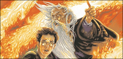 Dumbledore and Harry Potter on the cover of The Half-Blood Prince