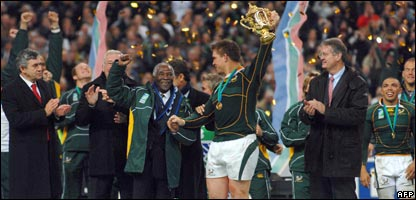 South Africa captain John Smit lifts the World Cup in Paris