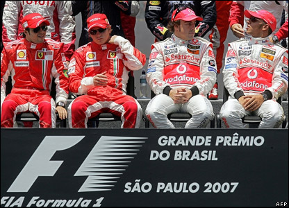 Left to right: Felipe Massa, Kimi Raikkonen, Fernando Alonso and Lewis Hamilton